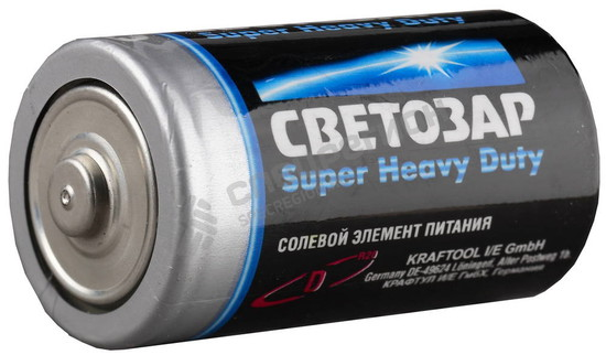 "Фотография Батарейка SV-59037-2C СВЕТОЗАР ""SUPER HEAVY DUTY"" солевая, тип D, 1,5В, 2шт на карточке"