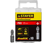 "Биты STAYER ""PROFESSIONAL"" ProFix Phillips, тип хвостовика C 1/4"", № 3, L=25мм, 10шт 26201-3-25-10_z"