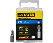 "Биты STAYER ""PROFESSIONAL"" ProFix Pozidriv, тип хвостовика C 1/4"", № 2, L=25мм, 10шт 26221-2-25-10_z"