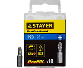"Биты STAYER ""PROFESSIONAL"" ProFix Pozidriv, тип хвостовика C 1/4"", № 3, L=25мм, 10шт 26221-3-25-10_z"
